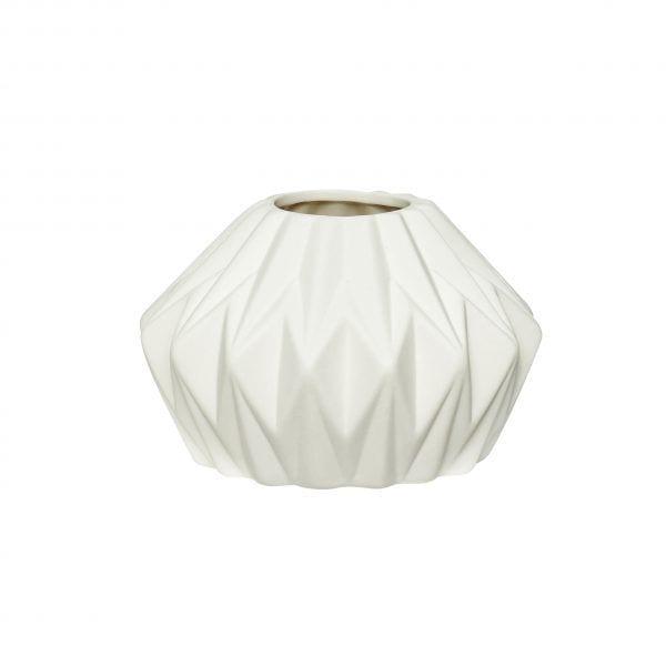 Vase géométrique - Blanc - Hübsch - Songes - 640211