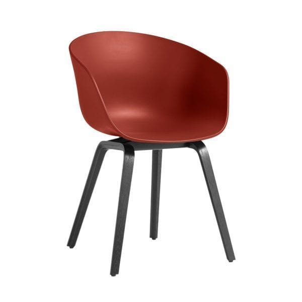 Chaise AAC 22 - Warm red - Hay - Songes - AAC22 Stained black Base warm red