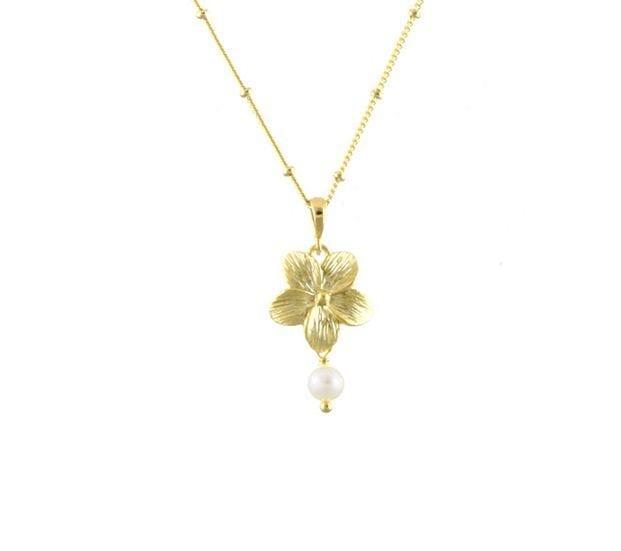 Collier fleur et perle
