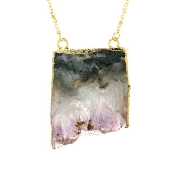 Collier - Améthyste - Fleur Envy - Songes - NLST058 - Amethyst Peace Stone