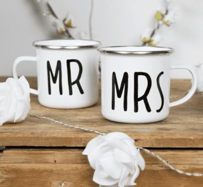 Mug émaillé Mr Mrs