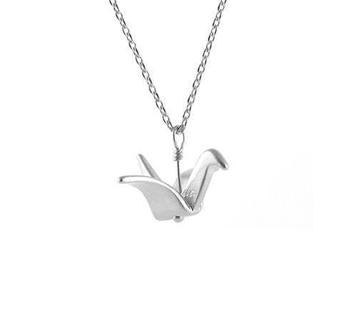 Collier - Origami argenté - Fleur Envy - Songes - crane_silver01