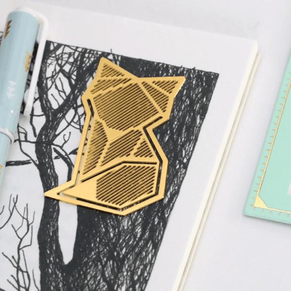 Marque-page doré - Renard - Hug a Porcupine - Songes - fox-gold-bookmark03