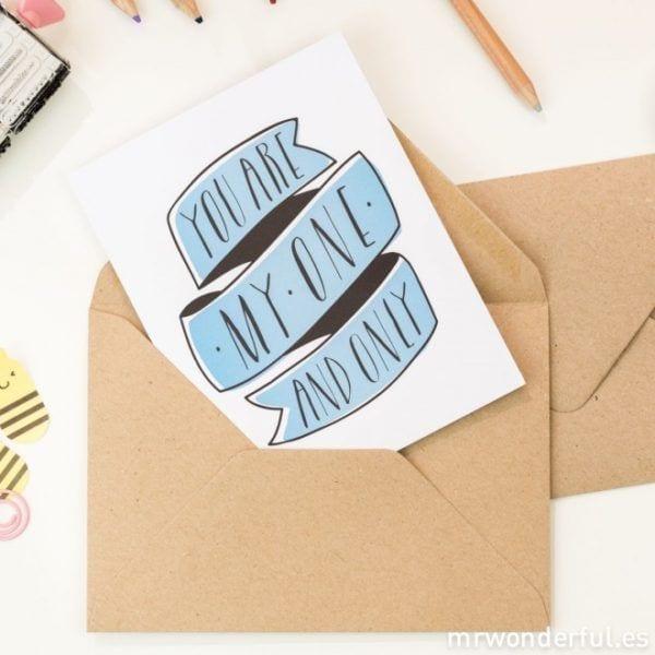 Carte de voeux - One and only - Mr. Wonderful - Songes - mrwonderful_felicitacion-06_tarjetas-felicitacion-color-5-modelos-eng-46_5