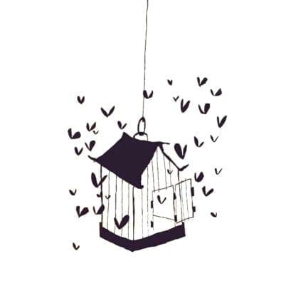 Sticker mural - La cage aux coeurs