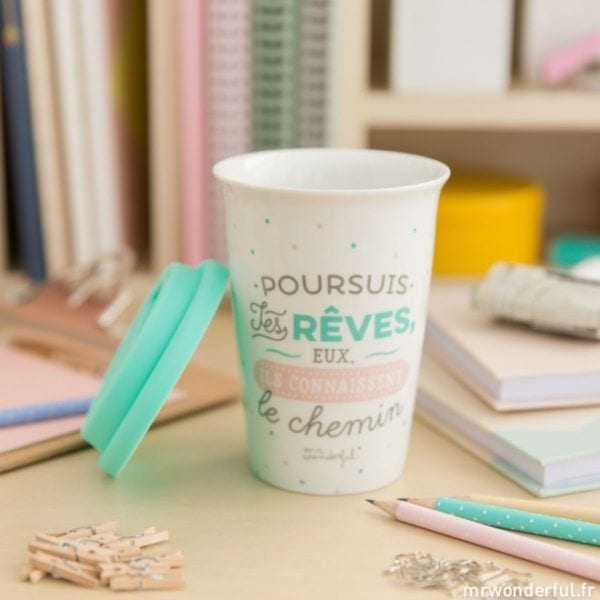 Mug à emporter - Rêves - Mr. Wonderful - Songes - mrwonderful_8435460709590_take_away_persigue-tus-suenos-fr-5_1