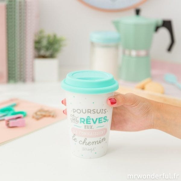 Mug à emporter - Rêves - Mr. Wonderful - Songes - mrwonderful_8435460709590_take_away_persigue-tus-suenos-fr-9_1