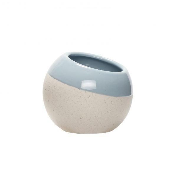 Cache-pot rond - Bleu - Hübsch - Songes - 800401-b