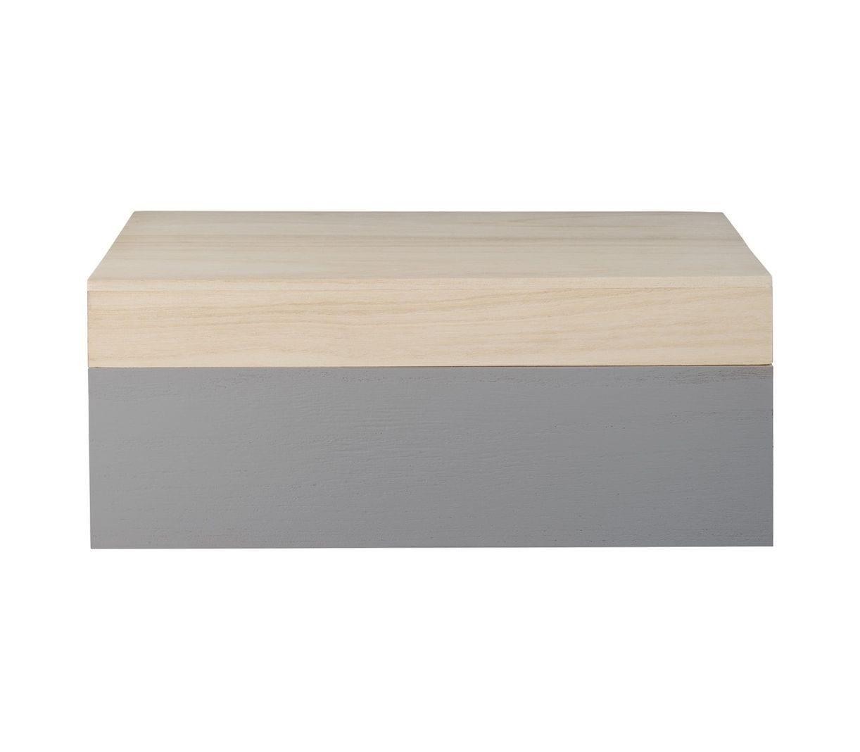 Boîte en bois L - Gris