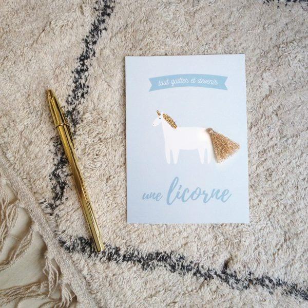 Carte de voeux - Licorne - Songes - Songes - carte-licorne-pompon
