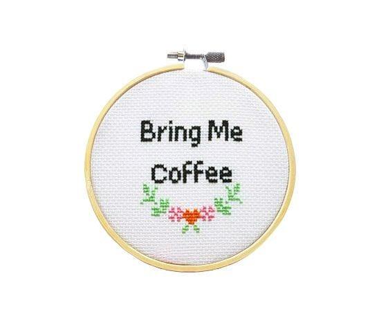 Kit à broder - Bring me coffee - SewCross - Songes - bring-me-coffee01