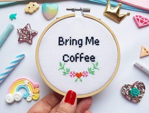 Kit à broder - Bring me coffee - SewCross - Songes - bring-me-coffee02