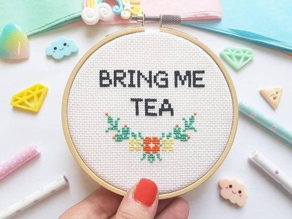 Kit à broder - Bring me tea