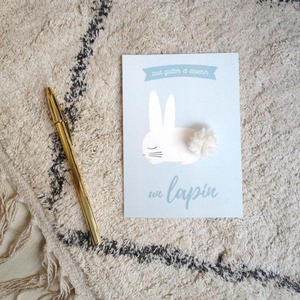 Carte de voeux - Lapin - Songes - Songes - carte-lapin-pompon