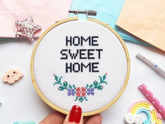 Kit à broder - Home sweet home - SewCross - Songes - home-sweet-home02