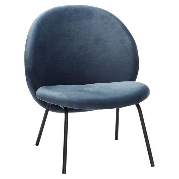 Fauteuil en velours - Bleu - Hübsch - Songes - 100609
