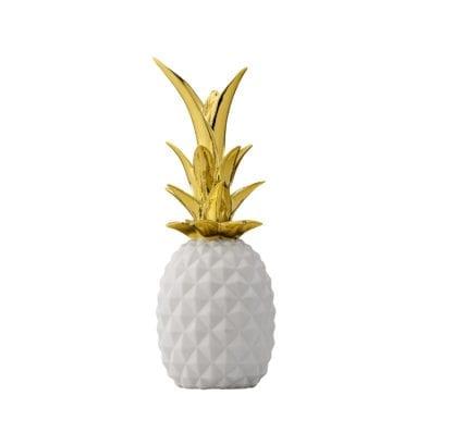 Ananas déco - Blanc/doré