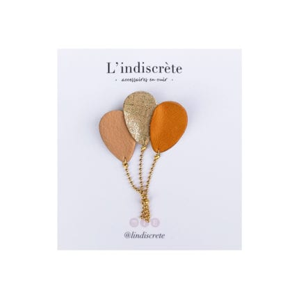 Broche ballon - Moutarde/Doré