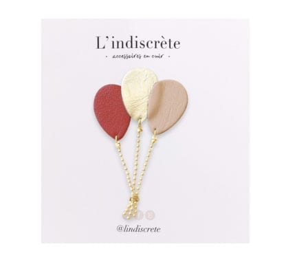 Broche ballon - Bordeau/Doré
