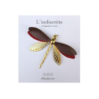Broche libellule - Bordeau