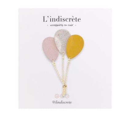 Broche ballon - Moutarde/Doré