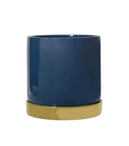 Cache-pot - Bleu/Doré