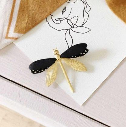 Broche libellule - Noir