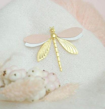 Broche libellule - Rose