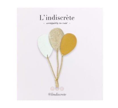 Broche ballon – Crème, Moutarde & Doré