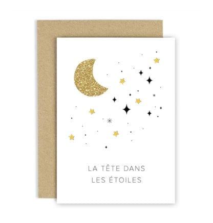Carte de voeux - Lune dorée
