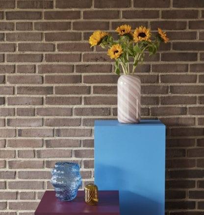 Vase rayé - Rose M