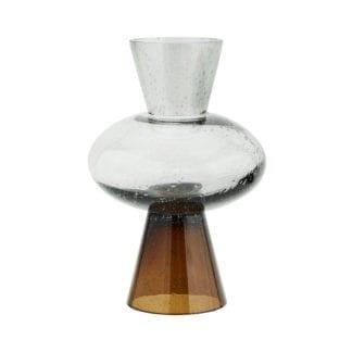 Vase en verre - Transparent/marron