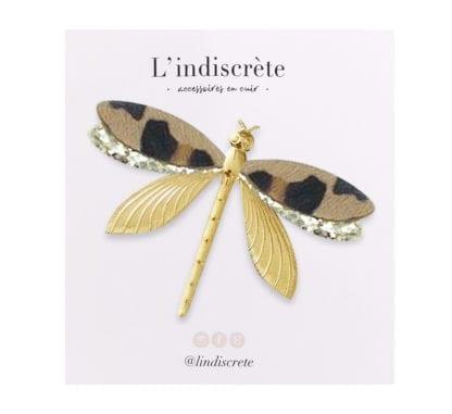 Broche libellule – Léopard