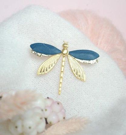 Broche libellule – Bleu