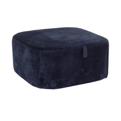 Pouf velours - Bleu