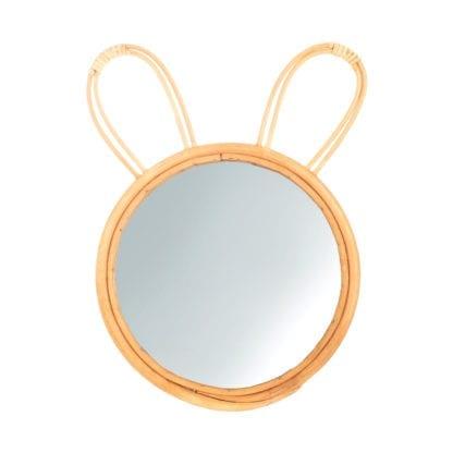 Miroir en rotin - Lapin