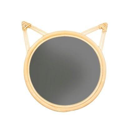 Miroir en rotin - Chat