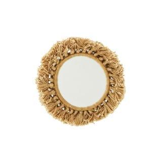 Mini miroir à pompons - Moutarde