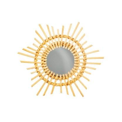 Miroir soleil rotin - S