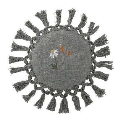Coussin à pompons – Fleurs